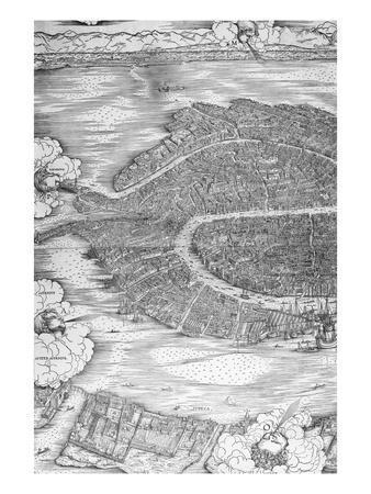 Grande Pianta Prospettica - Venice, C.1500 (Engraving) (Left Hand Side)