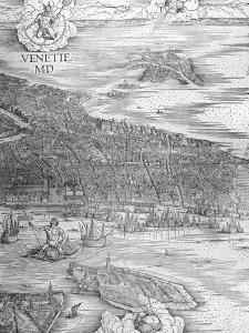 Grande Pianta Prospettica - Venice, C.1500 (Engraving) (Middle Section) by Jacopo De' Barbari