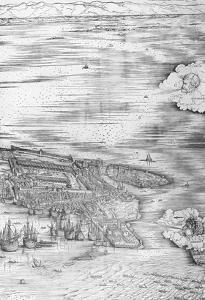 Grande Pianta Prospettica - Venice, C.1500 (Engraving) (Right Hand Side) by Jacopo De' Barbari