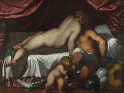 Mars and Venus, Ca 1590 by Jacopo Palma il Giovane the Younger