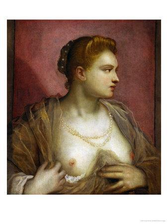 Lady Revealing Her Bosom, Perhaps the Famous Venetian Courtesan Veronica Franco