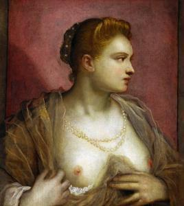 Lady Revealing Her Bosom, Perhaps the Famous Venetian Courtesan Veronica Franco by Jacopo Robusti Tintoretto