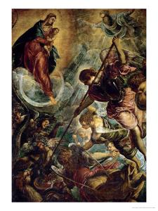The Archangel Michael Fights Satan, (Revelation 12, 1-9) by Jacopo Robusti Tintoretto