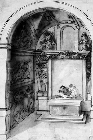 A Design for a Chapel Decorated with Frescoes and an Altar with a Lamentation
