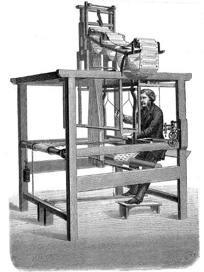 Jacquard Loom, with Swags of Punched Cards from Which Pattern Was Woven, 1876--Giclee Print