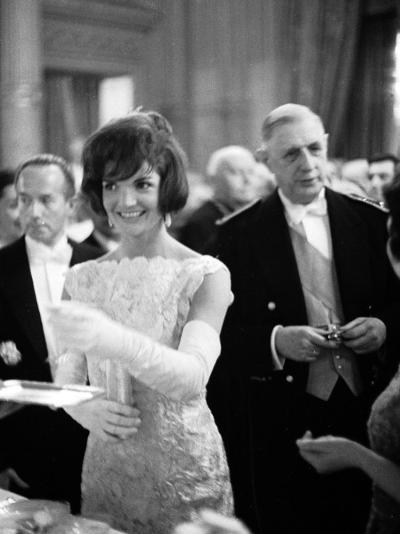 Jacquelin Kennedy Attending Luncheon W. Many Diginitaries Including French Pres. Charles Degaulle--Photographic Print