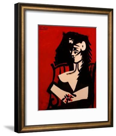 Jacqueline a Mantille Sur Fond Rouge-Pablo Picasso-Framed Art Print