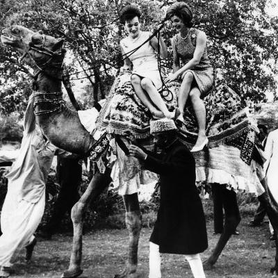 Jacqueline Kennedy and Her Sister, Princess Lee Radziwill Riding a Camel--Photo