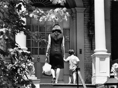 Jacqueline Kennedy and Her Son, 3 Year Old John F, Kennedy Jr Entering Georgetown Federal Era Home--Photo