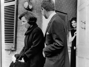 Jacqueline Kennedy, in Doorway of Her Temporary Georgetown Home after Leaving the White House