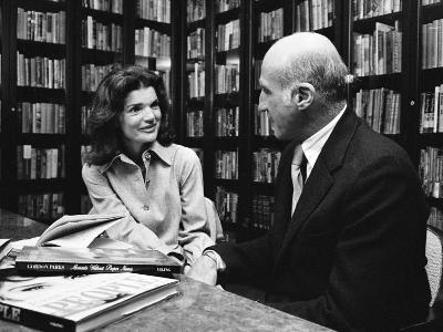 Jacqueline Kennedy Onassis and Boss Thomas H. Guinzburg at Viking Press-Alfred Eisenstaedt-Premium Photographic Print