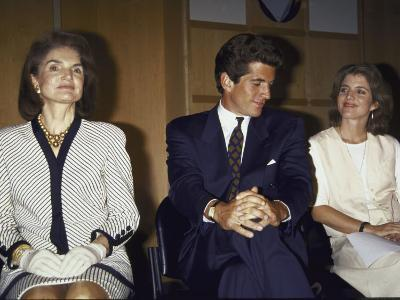 Jacqueline Kennedy Onassis and Her Children John F. Kennedy Jr. and Caroline Kennedy Schlossberg--Premium Photographic Print