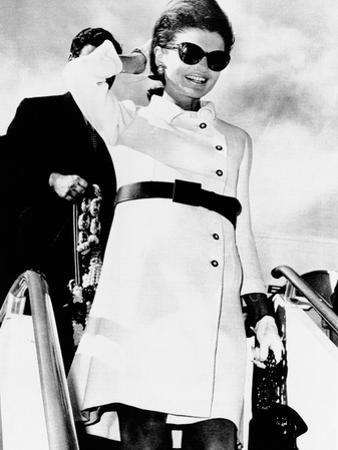 Jacqueline Kennedy, Wearing a White Coat Dress with a Short Skirt