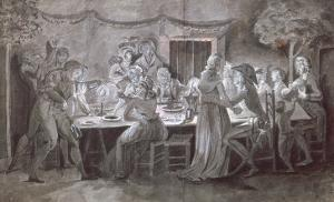 An Evening Wedding Meal by Jacques Bertaux