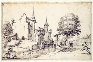 A Chateau with Drawbridge by Jacques Callot