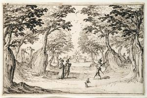 A Fine Lady and Gentleman Dancing in the Woods to a Lute, a Chateau in the Distance by Jacques Callot