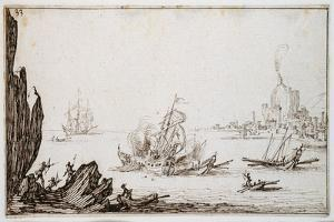 A Galley Rammed Amidships by a Man-O'-War under Sail Within Sight of Harbour, C.1617 by Jacques Callot