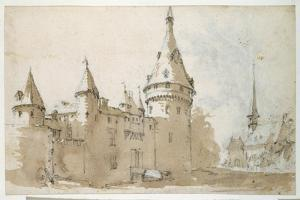A Turreted Chateau and a Church by Jacques Callot