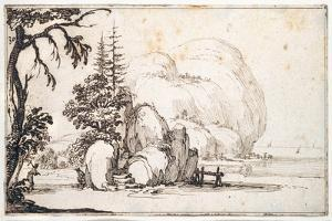 Fantastic Rocks by the Coast, Buildings at the Shore by Jacques Callot