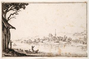 Ferrying a Passenger across a River to a Small Town Linked by a Bridge to a Castle by Jacques Callot