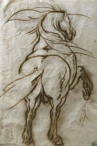 Study of a Rearing Horse, with a Subsidiary Study of the Same and a View of a Town by Jacques Callot