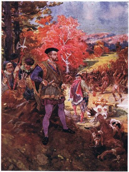 Jacques Cartier and the Redskins, C.1920-Henry Sandham-Giclee Print