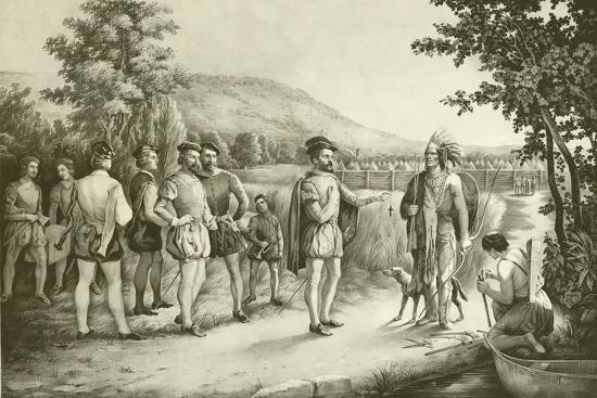 Jacques Cartier, His First Interview with the Indians at Hochelaga Now Montreal in 1535, C.1850--Giclee Print