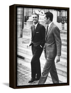 """Jacques Chaban-Delmas and Alain Delon on set of film """"Is Paris burning ?"""", 1966 (Delon is playing t"""