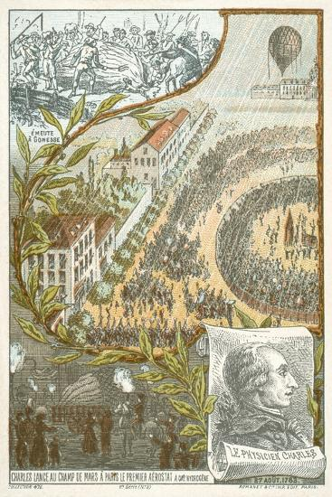 Jacques Charles Launching the First Hydrogen Balloon from the Champ De Mars, Paris, 27 August, 1783--Giclee Print