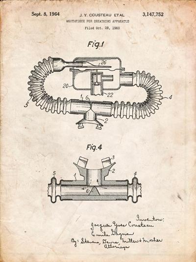 Jacques Cousteau Diving Mouthpiece Patent-Cole Borders-Art Print