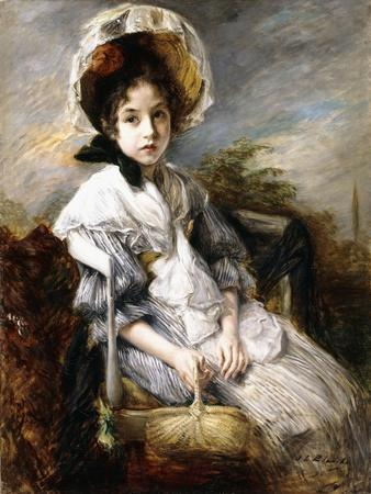 Portrait of a Young Girl Seated in a Landscape