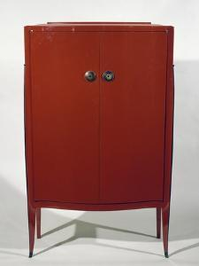Art Deco Style Red Lacquered Cabinet by Jacques-emile Ruhlmann