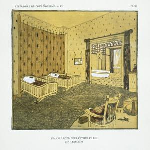 Bedroom for Two Small Girls, from 'Repertoire of Modern Taste', Published 1929 (Colour Litho) by Jacques-emile Ruhlmann
