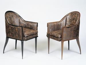 Pair of Art Deco Style Armchairs, Guinde Model by Jacques-emile Ruhlmann