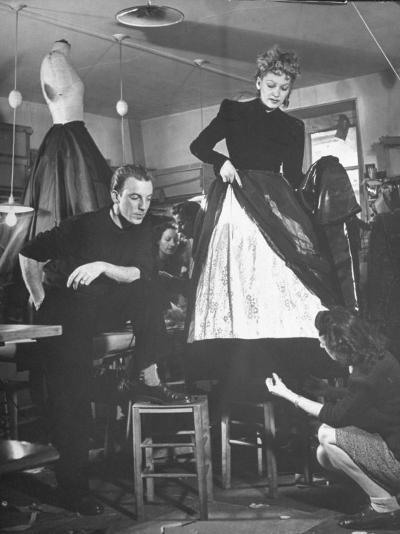 Jacques Fath Watching as the Tailor Hymns the Loose Ends at the Bottom of the Dress-Nina Leen-Premium Photographic Print