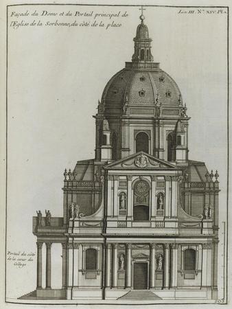 Elévation du portail et du dôme de l'église de la Sorbonne à Paris ; côté de la place