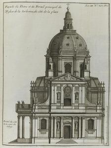 Elévation du portail et du dôme de l'église de la Sorbonne à Paris ; côté de la place by Jacques-François Blondel