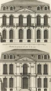 Planche 22 : Elévation de la façade de l'hôtel de Villeroy (ancien hôtel de Mlle Desmares) by Jacques-François Blondel