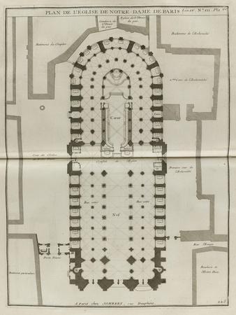 Planche 225 : Plan du rez-de-chaussée de Notre-Dame de Paris