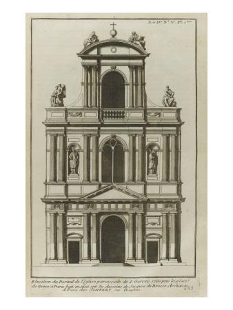 Planche 233 : Elévation du portail de l'église paroissiale de Saint-Gervais