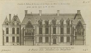 Planche 246 (2) : Elévation de la façade côté cour l'hôtel de Bretonvilliers , construit par by Jacques-François Blondel