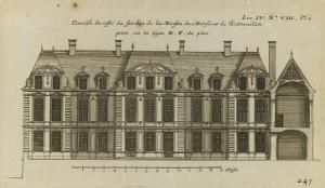 Planche 247 (1) : Elévation de la façade côté jardin l'hôtel de Bretonvilliers , construit par by Jacques-François Blondel