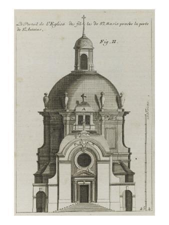 Planche 254 (2) :  élévation du portrail de l'église de la Visitation Sainte-Marie bâtie par
