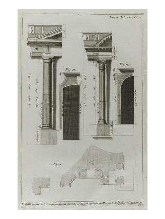 Planche 277: profils des principaux membres d'architecture  du portail , couvent des Minimes