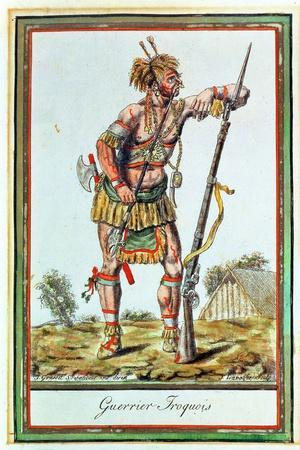 Iroquois Warrior, from 'Encyclopedie Des Voyages', Engraved by J. Laroque, 1796
