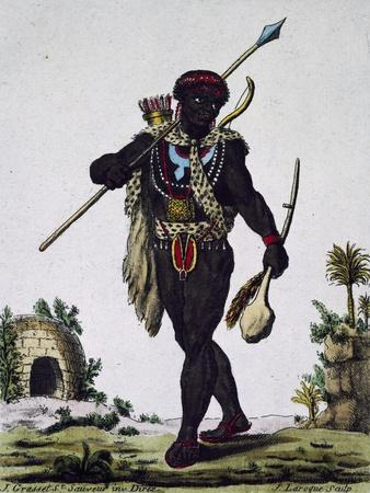 Man from Namaquas Tribe, Africa, Engraving from Encyclopedia of Voyages, 1795