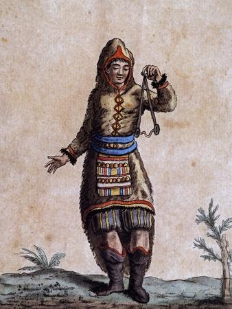 Woman of Hudson Bay in Traditional Costume, Color Engraving by Laroque