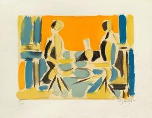 Trois personnages a table by Jacques Lagrange