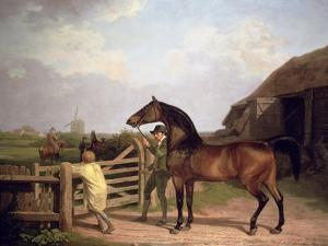 Bay Ascham', a Stallion Led Through a Gate to a Mare, 1804 by Jacques-Laurent Agasse