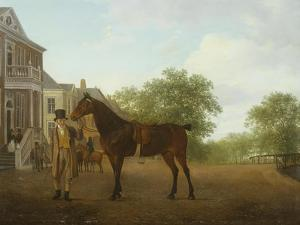 Gentleman Holding a Saddled Horse in a Street by a Canal, 18th-19th Century by Jacques-Laurent Agasse